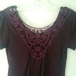 Smart Set Back Lace Top Purple